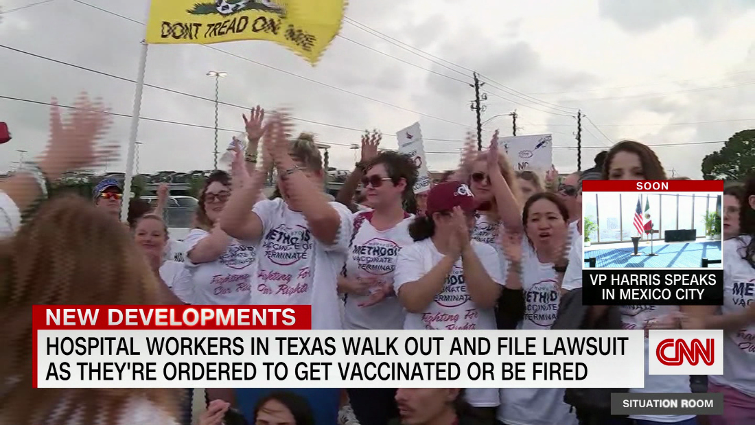 Nurses protest over vaccination requirement - CNN Video