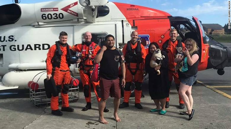 Coast Guard in Alaska rescues three friends after winds and a current swept their pink flamingo raft into bay