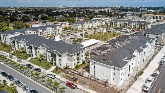 The second phase of Liberty Square, the redevelopment project by Related Urban, the Related Groups affordable housing division is moving towards completion in Miami on Wednesday, October 28, 2020 (Al Diaz/Miami Herald/Tribune News Service via Getty Images)