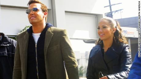 """Jennifer Lopez and Ben Affleck on set for a music video for """"Jenny From the Block"""" in 2002."""