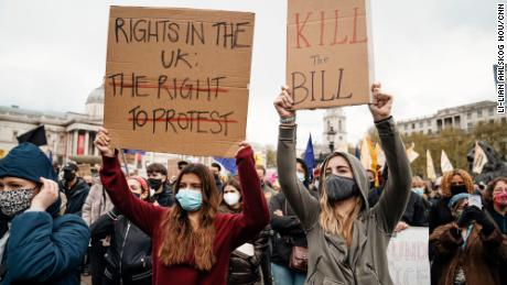 Protesters attend a march on May 1, 2021, against a proposed bill to increase police powers at demonstrations in Trafalgar Square, London.