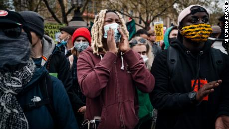 """""""I am getting quite a lot of threats online, but not just me -- other Black activists too,"""" says BLM activist Aima (center)."""