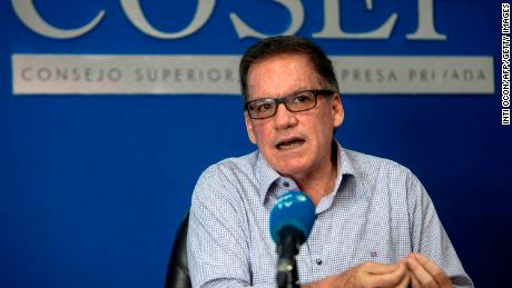 Nicaraguan businessman Jose Adan Aguerri pictured during an interview with Agence France-Presse in Managua on June 2, 2020.