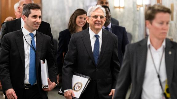 UNITED STATES - JUNE 9: Attorney General Merrick Garland arrives for the Senate Appropriations Subcommittee on Commerce, Justice, Science, and Related Agencies hearing on the proposed budget for fiscal year 2022 for the Department of Justice on Wednesday, June 9, 2021. (Photo by Bill Clark/CQ Roll Call via AP Images)