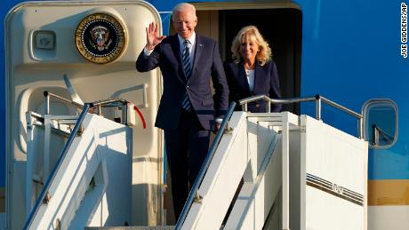 US President Joe Biden and First Lady Jill Biden arrive on Air Force One at RAF Mildenhall in Suffolk, ahead of the G7 summit in Cornwall.