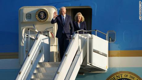 US President Joe Biden and first lady Jill Biden arrive aboard Air Force One at RAF Mildenhall, England on Wednesday, ahead of the G7 summit in Cornwall.