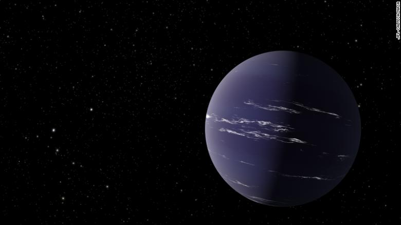 This artist's illustration shows TOI-1231 b, a Neptune-like planet about 90 light-years away from Earth.