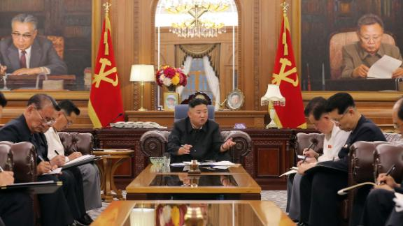 North Korean leader Kim Jong Un attends a consultative meeting of senior officials in Pyongyang in this photo released by North Korea's state-run news agency on June 8.