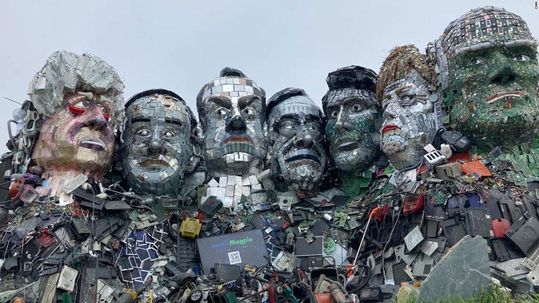 Massive e-waste sculpture of G7 leaders appears near summit site