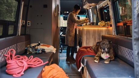 The Airstream Interstate 24X offers comfortable sleeping arrangments for two people and tie-downs on the cieling, walls and floor for gear.