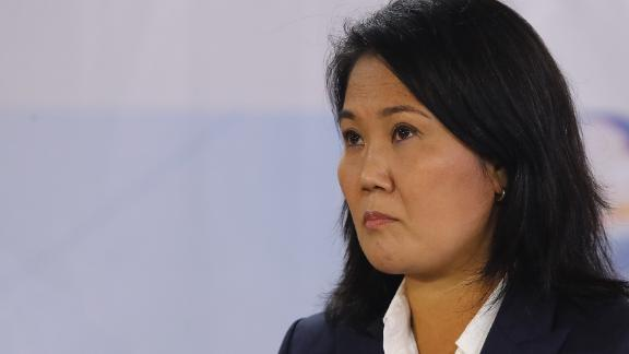 Presidential candidate Keiko Fujimori of Fuerza Popular gives a press conference Wednesday in Lima, Peru, as votes continue to be counted after a tight runoff presidential election.