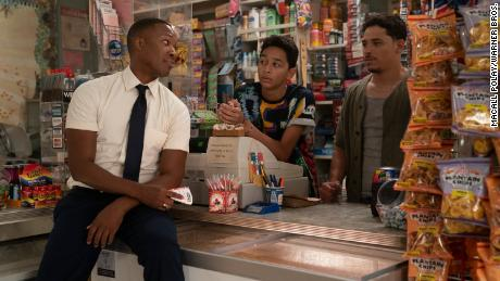 """(From left) Corey Hawkins as Benny, Gregory Diaz IV as Sonny, and Anthony Ramos as Usnavi are shown in a bodega scene from """"In the Heights."""""""