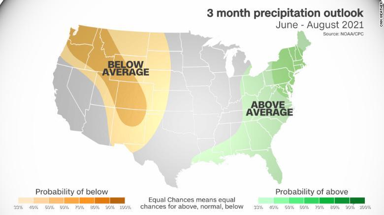 Climate Prediction Center's precipitation outlook for June through August.