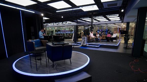 """Hosts in the GB News studio in London. The channel will launch on June 13 with a special program called """"Welcome To GB News."""""""