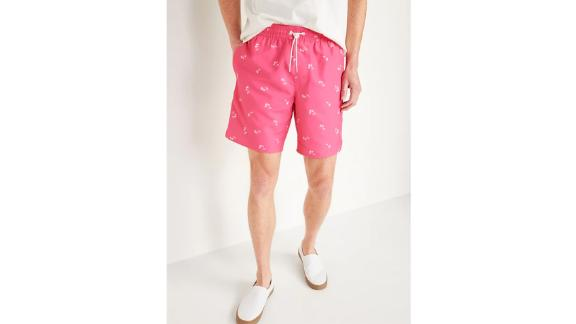 Pink Palm Printed Swim Trunks