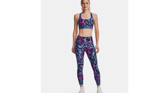 Under Armour Women's Armour Mid Crossback Printed Sports Bra & No-Slip Waistband Printed Ankle Leggings