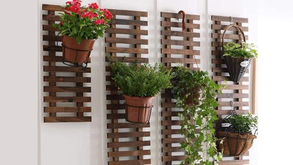 ShopLaLa Wooden Hanging Wall Planter, 2-Pack