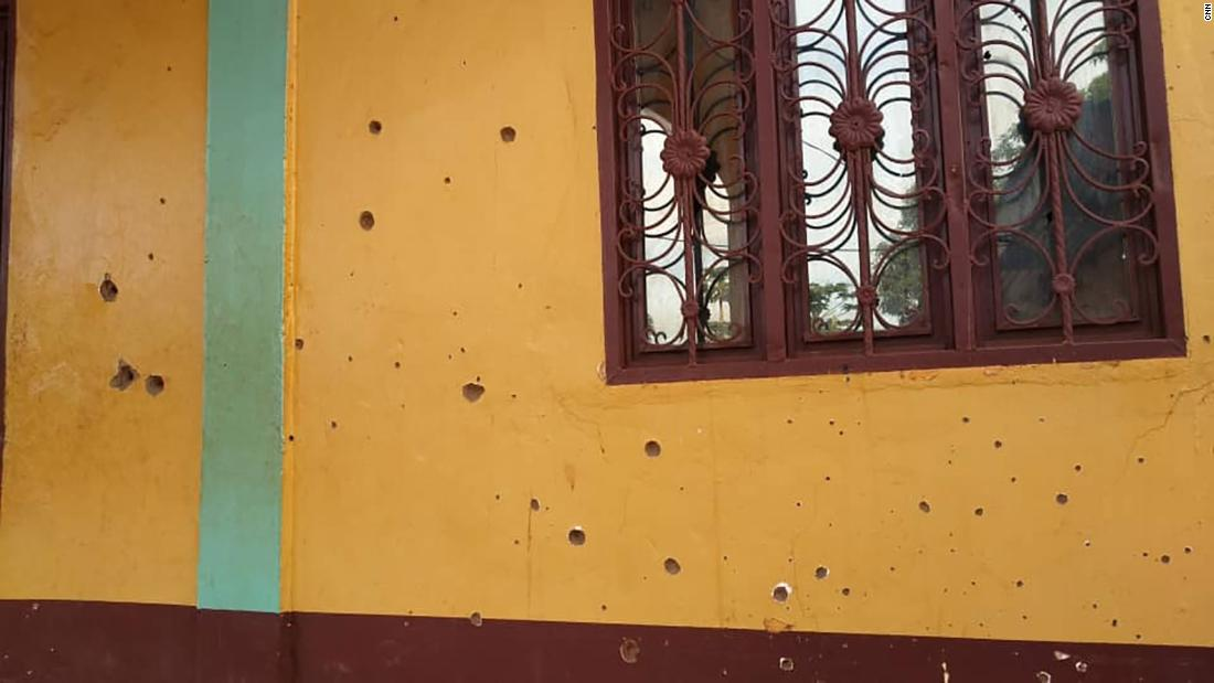 Bullet holes are seen in an exterior wall of the al Taqwa mosque in Bambari, Central African Republic, in a photo taken in May 2021.