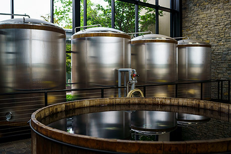 The fermenters are ready for use at the Town Branch Distillery in Lexington, Kentucky.