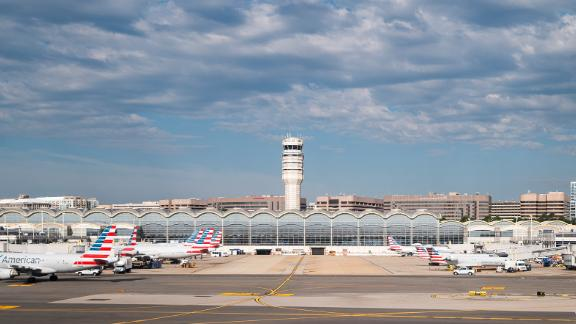 American Airlines planes are parked at the gates at Washington National Airport on Tuesday, June 30, 2020.