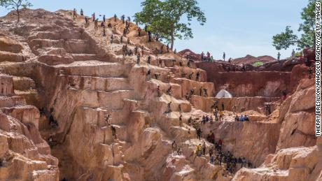 Gold miners work in the Ndassima gold mine, about 25 miles from Bambari, Central African Republic, in May 2019.
