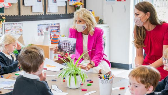 First Lady Jill Biden and Catherine, Duchess of Cambridge, visit with young children in Cornwall on June 11.
