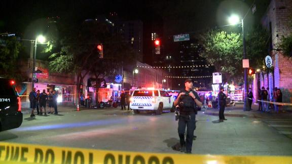 The scene of the shooting in downtown Austin.