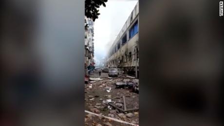 Les suites de l'explosion dans la ville de Shiyan, dans la province du Hubei.