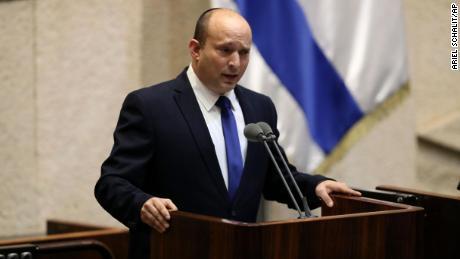 Naftali Bennett speaks during a Knesset session in Jerusalem Sunday, June 13, 2021.