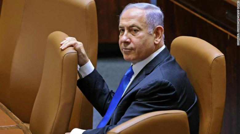 Israel's Prime Minister Benjamin Netanyahu attends the special session in the Knesset on June 13.