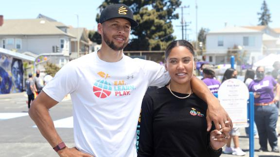 Stephen and Ayesha Curry unveil the new playground at Franklin Elementary School in Oakland, California.