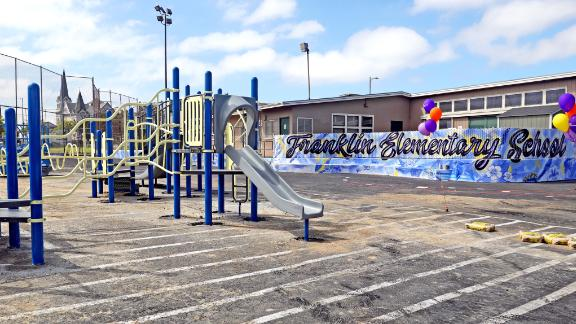The new playgound at Franklin Elementary School.