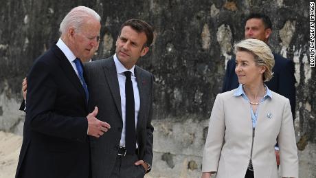 President Joe Biden, President of France, Emmanuel Macron and European Commission Ursula von der Leyen speak during the G7 Summit on June 11, 2021.
