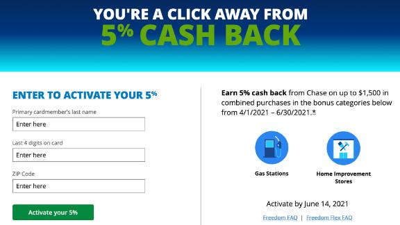 You can activate the Chase Freedom Flex bonus categories online in just minutes.