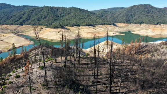Trees burned by a recent wildfire line the steep banks of Lake Oroville on June 1, 2021 in California. As severe drought takes hold across the Western US, the risk of water shortages and dangerous wildfires is growing.