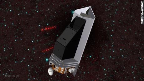 This illustration depicts NEO Surveyor, a new mission that could discover most of the potentially hazardous asteroids that are near Earth.