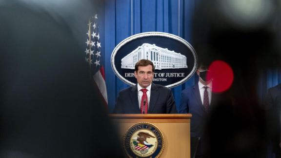 John Demers, assistant U.S. attorney general for national security, speaks during a news conference at the Department of Justice in Washington, DC in October 2020.