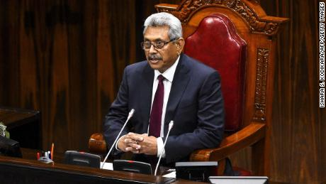 Sri Lanka's President Gotabaya Rajapaksa speaks at the national Parliament session in Colombo on August 20, 2020.