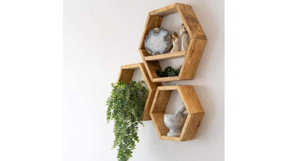 Farmhouse Chic Hexagon Floating Shelves