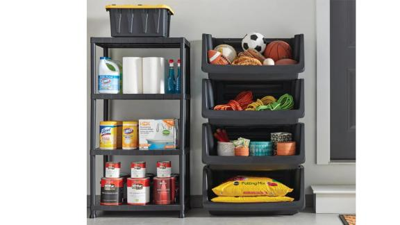 Black 4-tier garage shelf made of plastic