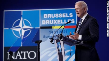 US President Joe Biden gives a press conference after the NATO summit in Brussels on June 14, 2021.