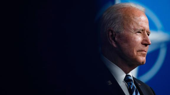 US President Joe Biden gives a press conference after the NATO summit at the North Atlantic Treaty Organization (NATO) headquarters in Brussels, on June 14, 2021.