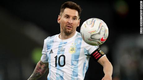 Messi looks at the ball during the Group A match between Argentina and Chile.