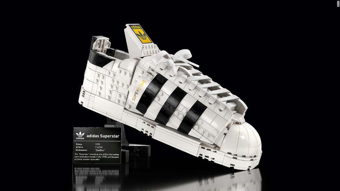 Lego has created an Adidas sneaker, complete with laces and a shoebox