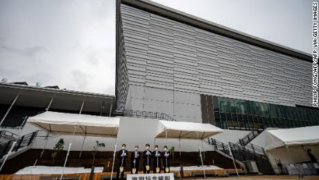 A general view shows the Ariake Arena, venue for the Tokyo 2020 Olympic volleyball and Paralympic wheelchair basketball events, during a tree planting event to commemorate the reconstruction of disaster-affected areas in Japan, in Tokyo on June 6, 2021.