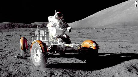 Mission Commander Eugene Cernan test driving a Lunar Roving Vehicle during the  Apollo 17 mission in 1972.