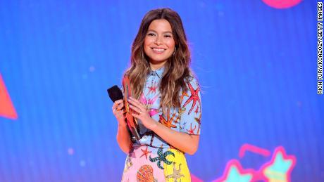 Miranda Cosgrove speaks at Nickelodeon's Kids' Choice Awards in Santa Monica, California, March 13.