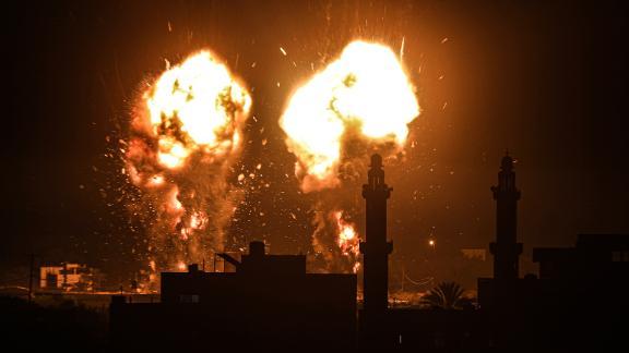 GAZA CITY, GAZA - JUNE 15: Flames are seen after an Israeli air strike hit Hamas targets in Gaza City, Gaza on June 15, 2021. (Photo by Ali Jadallah/Anadolu Agency via Getty Images)