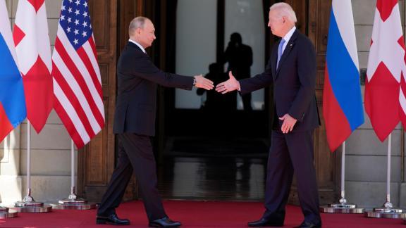 President Joe Biden and Russian President Vladimir Putin, arrive to meet at the 'Villa la Grange', Wednesday, June 16, 2021, in Geneva, Switzerland.