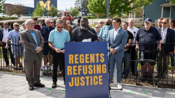 Jon Vaughn, former University of Michigan and former NFL football player, speaks at a press conference on the University of Michigan campus on June 16 in Ann Arbor, Michigan. Vaughn and several dozen others are accusing the late Dr. Robert Anderson, former Head of University of Michigan Health Services and former UM football team doctor, of sexually abusing or sexually assaulting them.